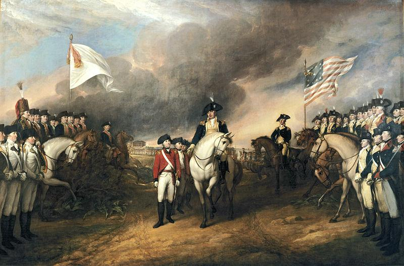 Patriotisk maleri av at den biritske majoren Lord Cornwallis overgir seg (selv om majoren ikke var tilstede ved hendelsen) etter beleiringen av Yorktown, høsten 1781. Vi ser franske og amerikanske styrker, hvorav noen til hest og det amerikanske flagget vaiende i vinden. Maleri.