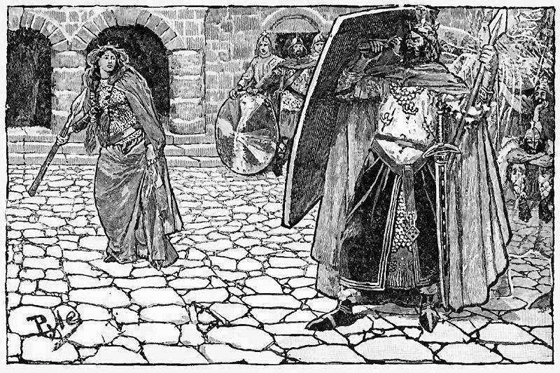 Scene fra Nibelungeneposet. Brünhilde kaster et sverd mot Gunthers skjold. Illustrasjon.