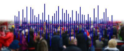 Diagram med folkemengde i bakgrunnen. Illustrasjon.