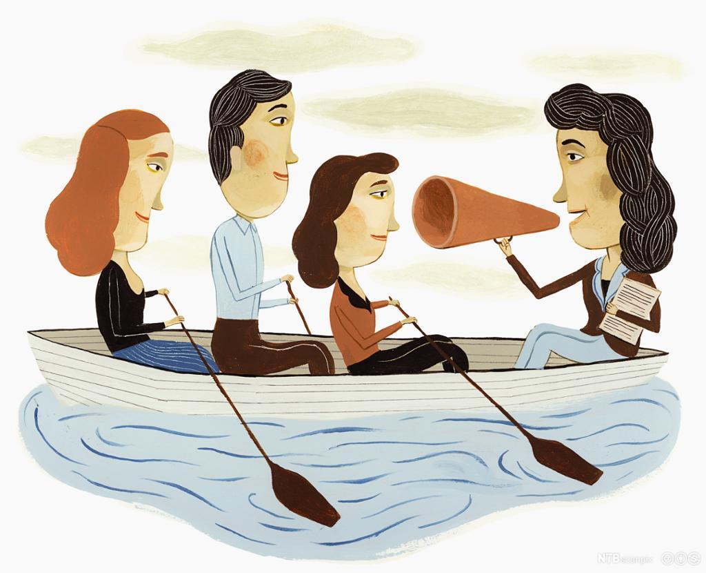 Leder som gir gruppe instruks. Sittende i båt. Illustrasjon