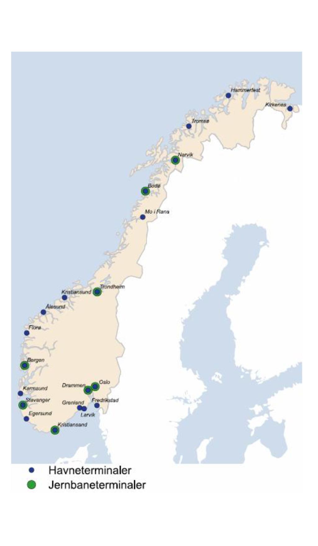 Kart viser havne- og jernbaneterminaler i Norge. foto.