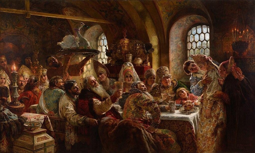 Bryllupsfest fra middelalderen. Det serveres svane i hel fjørdrakt. Maleri.