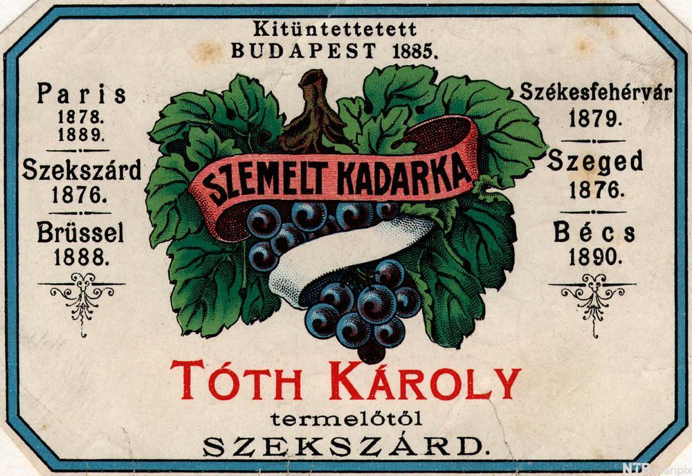 Flaskeetikett med drueklasemotiv og ungarsk påskrift. Trykk