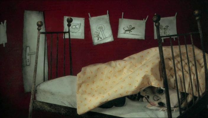 Liten gutt ligger i senga og gjemmer seg under dyna. Illustrasjon.