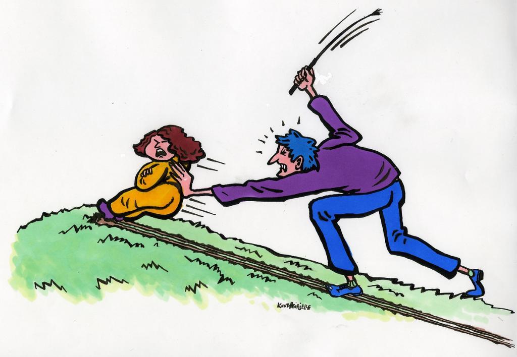 Arbeidar som kjeppjager eit barn til fysisk aktivitet. Teikning.