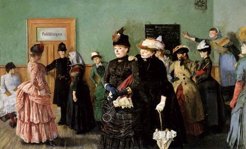 Måleri som viser kvinner på politilegens venteværelse cirka 1886. Foto.