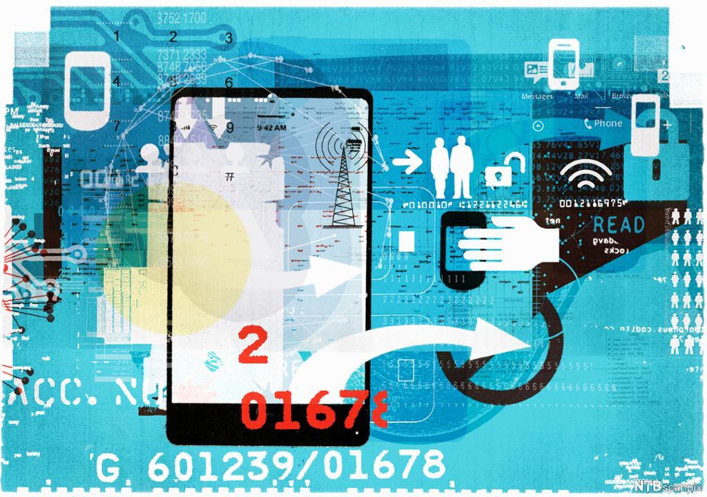 Mobil- og datatilknytning og sikkerhet. Illustrasjon.