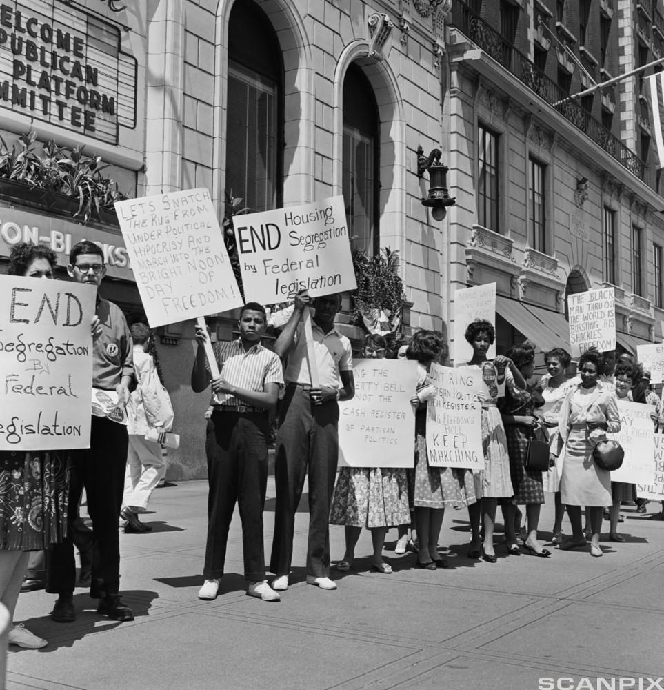 African-Americans rallying for civil rights in 1960