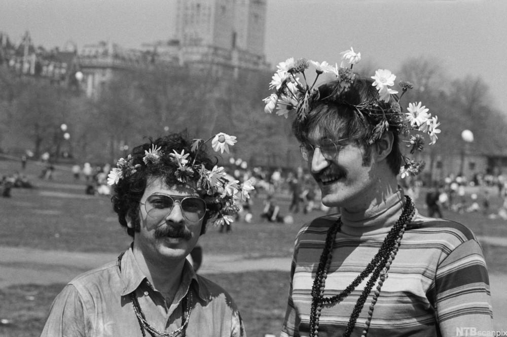 Hippies Bob Bower and Jack Lebowitz Wearing Flowers