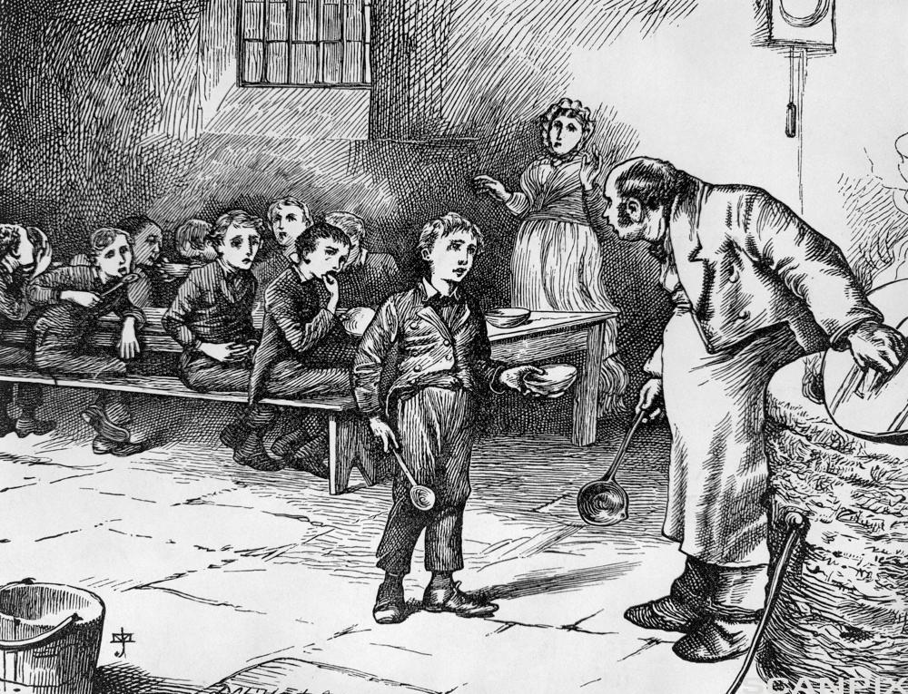 Illustration Depicting Oliver Twist Asking for More Food by J. Mahoney
