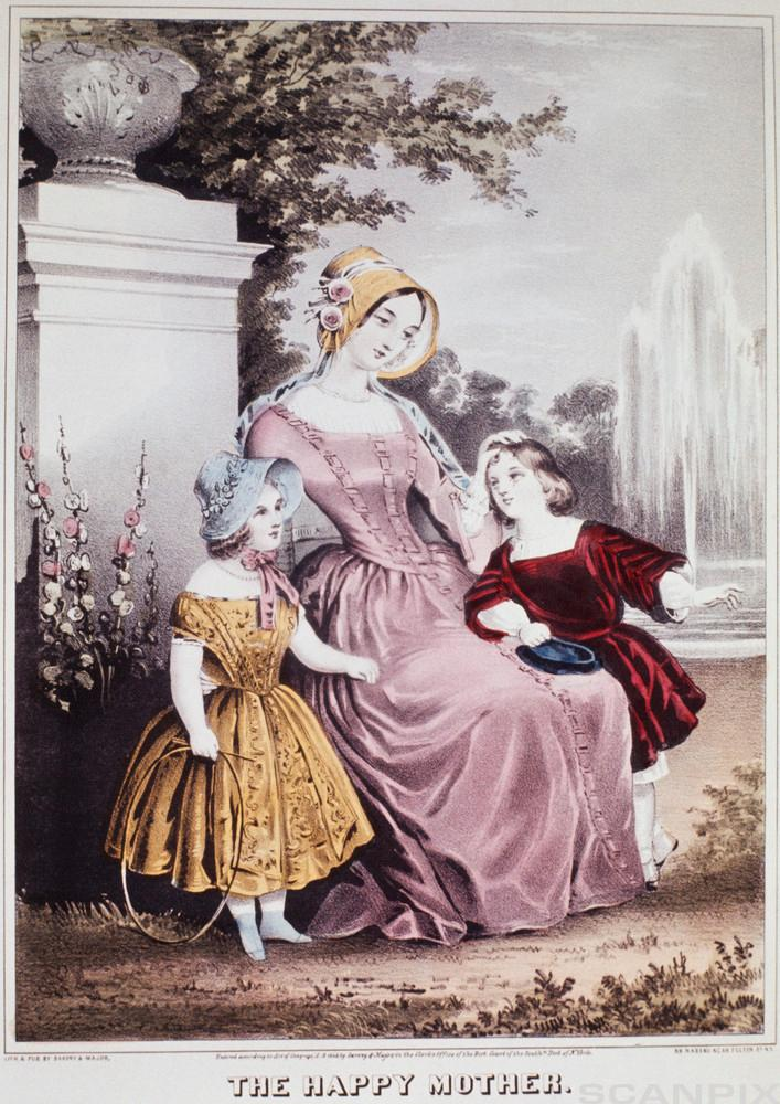 Victorian Lithograph of The Happy Mother