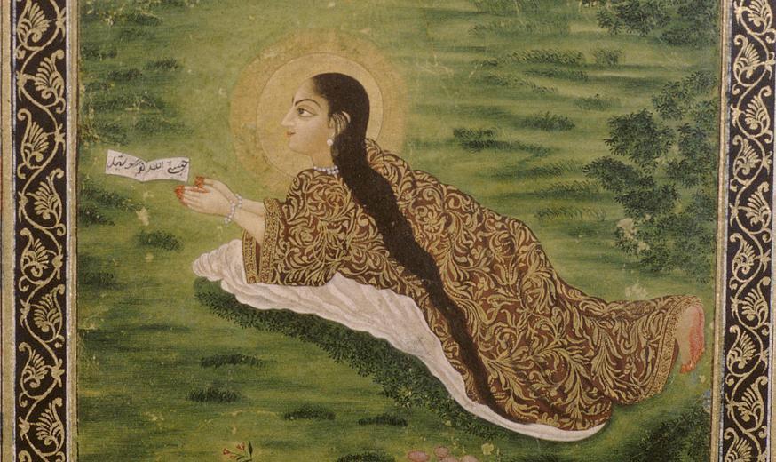 Kvinne ligg i graset og ber. Måleri.