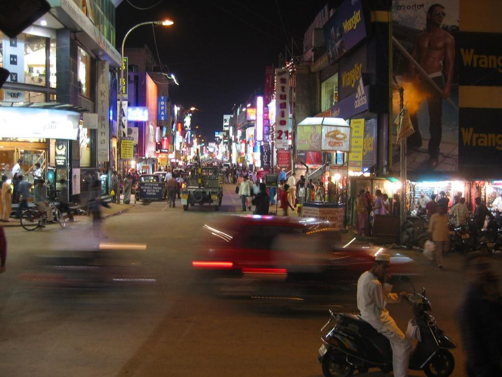 Busy street at night.photo.