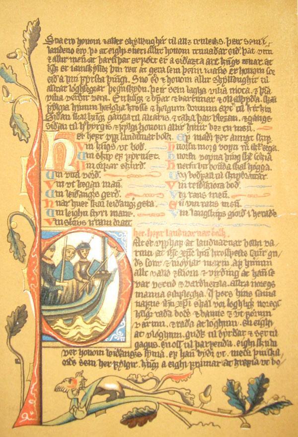 Håndskrevet bibelside. Foto