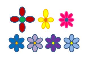 Sju tegnede eksempel-arter til bruk i denne oppgaven. Illustrasjon.