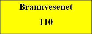 Gul plakat der det står brannvesenet 110. Illustrasjon.
