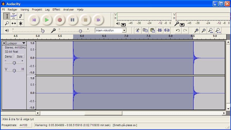 Bruk av lydprogrammet Audacity. Skjermdump.