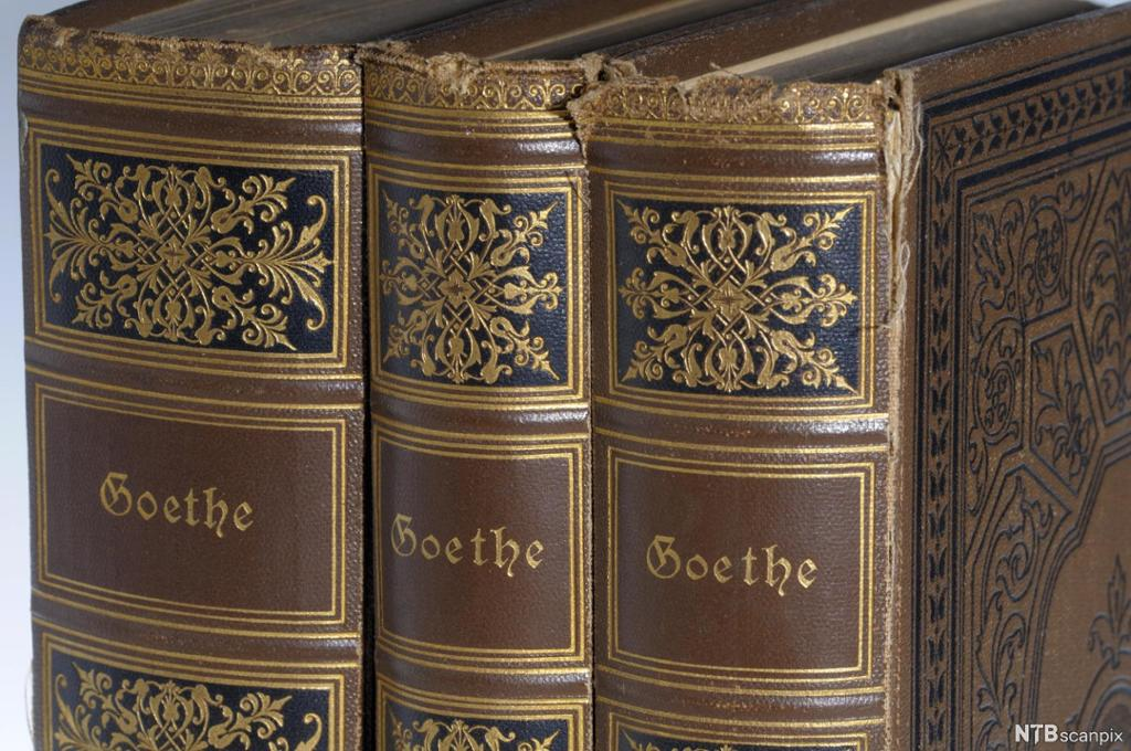 Tre gamle bind med verker av Goethe. Forfatternavnet står med gullskrift på bokryggene. Foto.