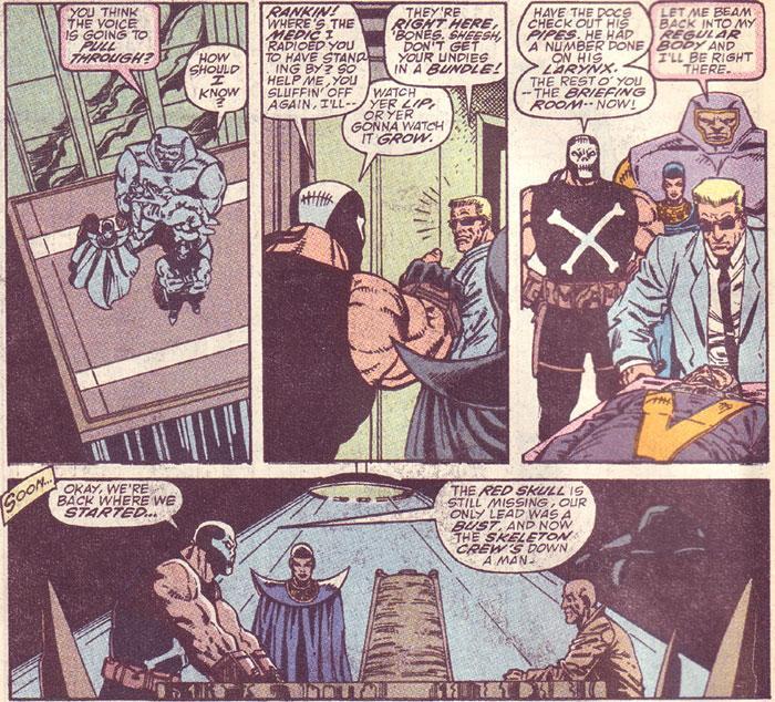 Tegneserien Captain America der tre ruter har høydeformat og ett har breddeformat. Illustrasjon.