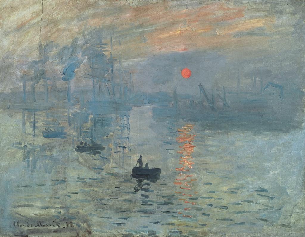 """Måleriet """"Soleil levant"""", eller soloppgang, av Claude Monet. Illustrasjon."""