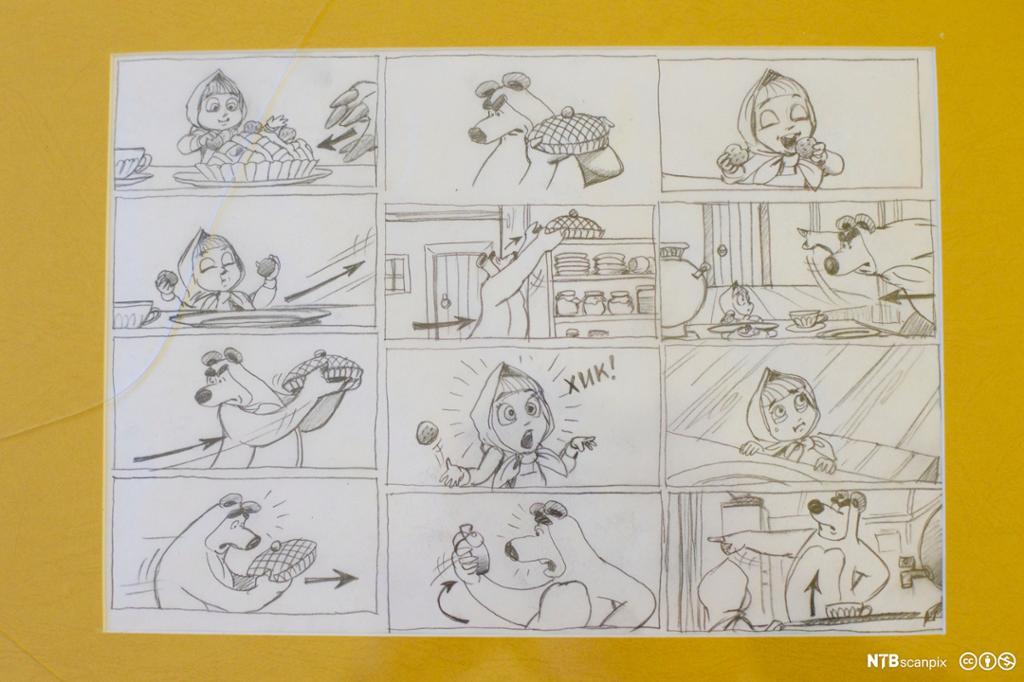 Storyboard for Masha og Mishka. Bilde.