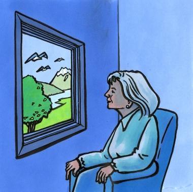Bildet viser dame som sitter ved et vindu