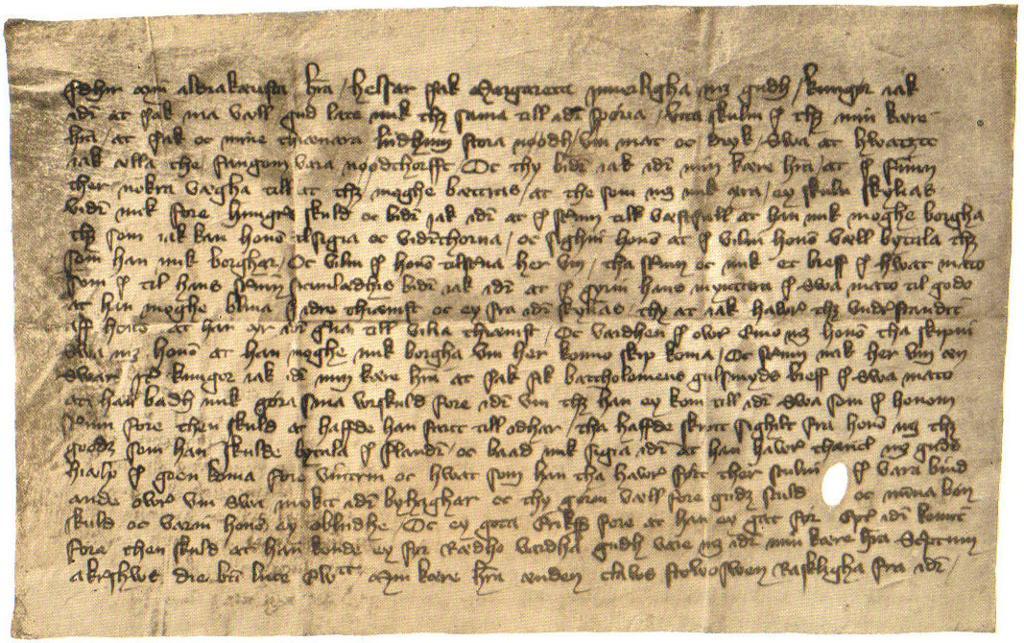 Bilde som viser et brev som dronning Margrete den første har skrevet til mannen sin