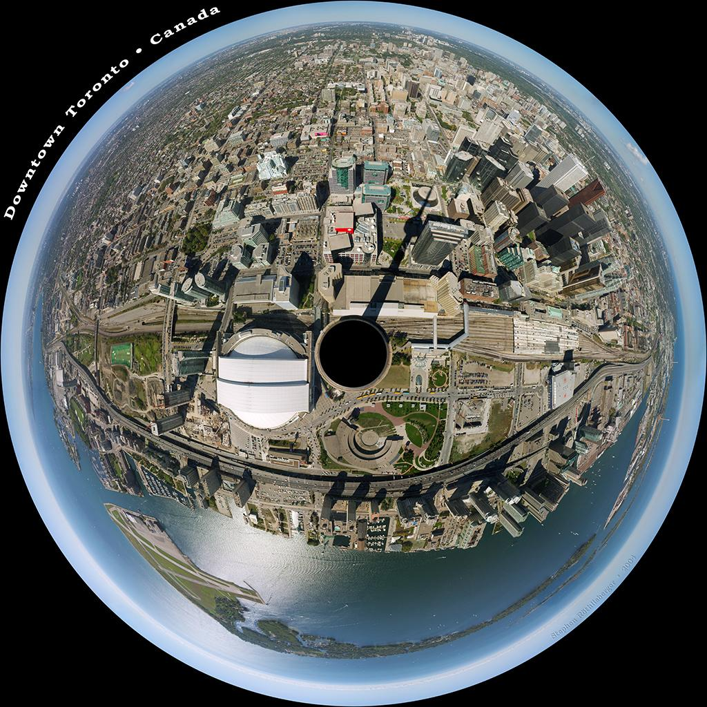 Downtown Toronto trough fish-eye lense. Photo.