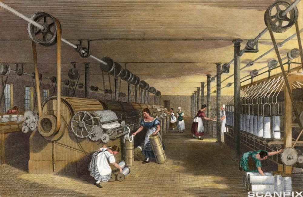 Print Depicting Workers at a Textile Factory