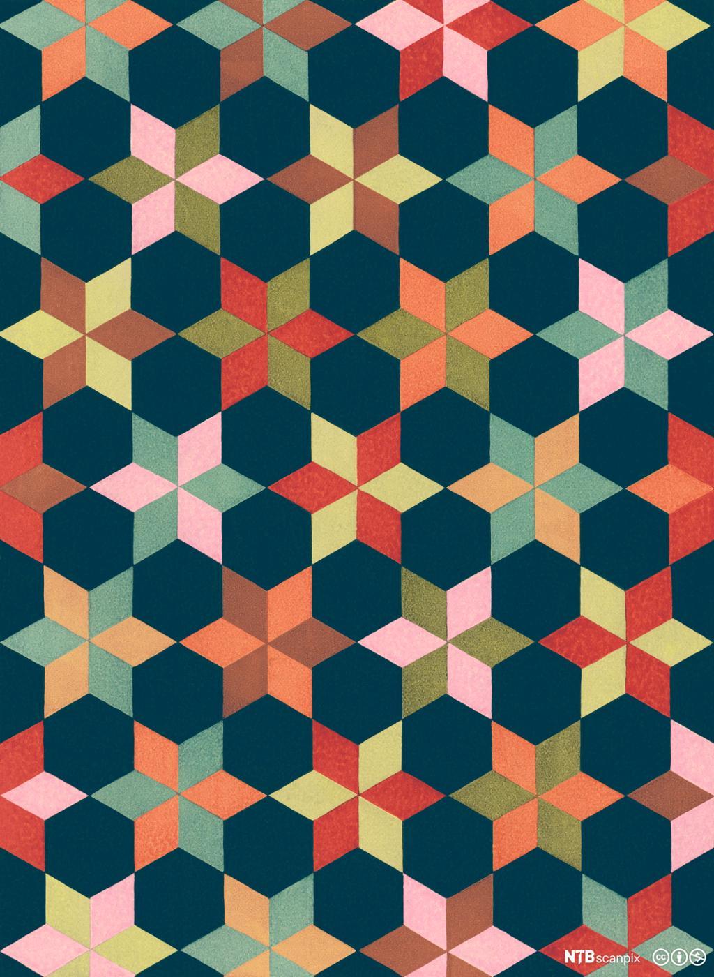 Repeterende mønster av firkanter og regulære sekskanter. Illustrasjon.