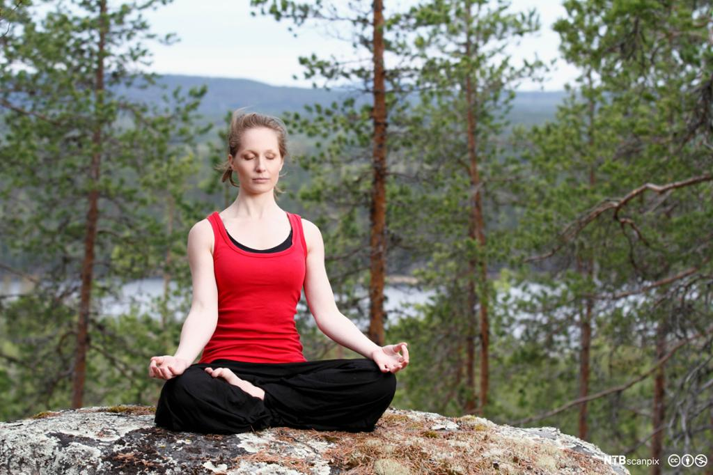 Kvinne sitter og mediterer i skogen. Foto.