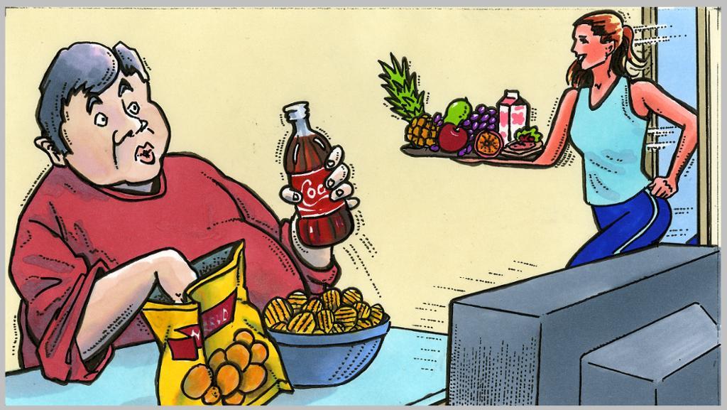 To mennesker med ulikt kosthold. Illustrasjon.