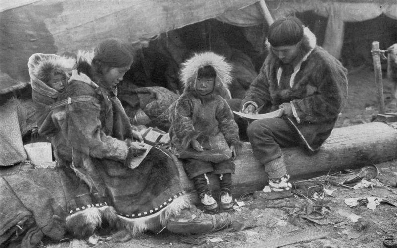Eskimo-familie. Foto.