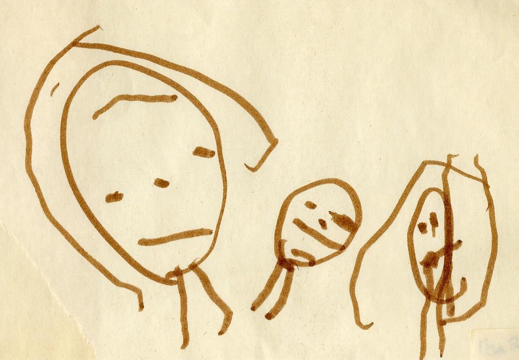 Tegning av tre mennesker.illustrasjon.