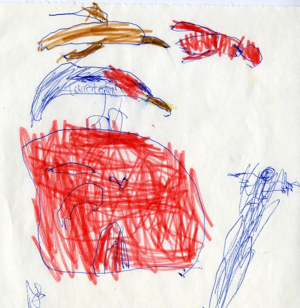 Barnetegning av fisker og fugler. Illustrasjon.