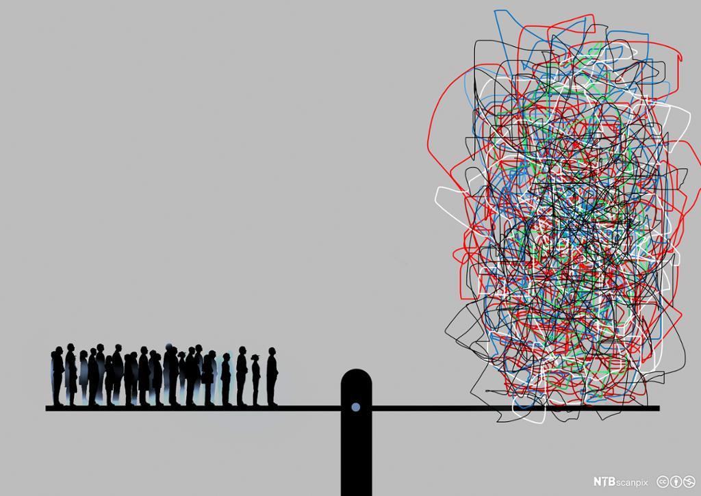 Menneskemengde balanseres mot rot. Illustrasjon.