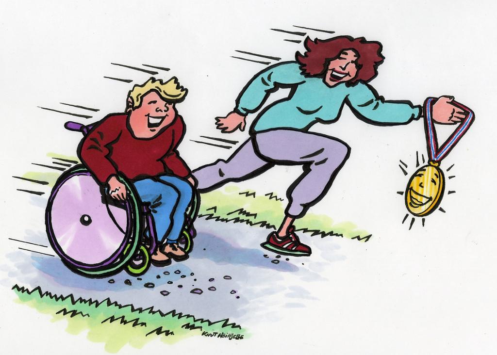 Fysisk aktivitet mellom en mann i rullestol og en løpende jente. Tegning.