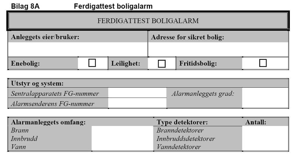 Utsnitt av et ferdigattest skjema for boligalarm. Foto.