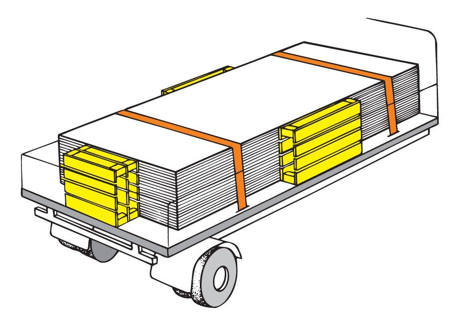 Stempling og surring av last. foto.