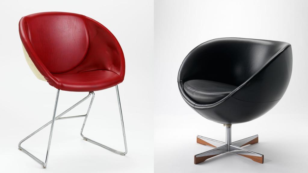 To designstoler, en rød og en sort. Foto.