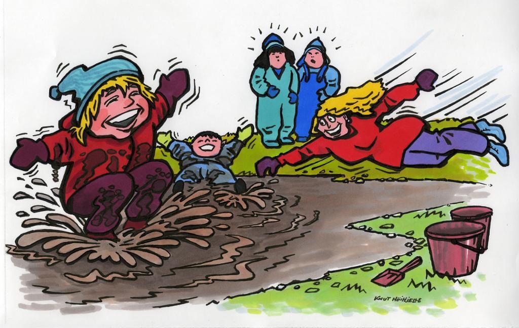 Barn og voksne som leker i en sølepytt. Tegning.