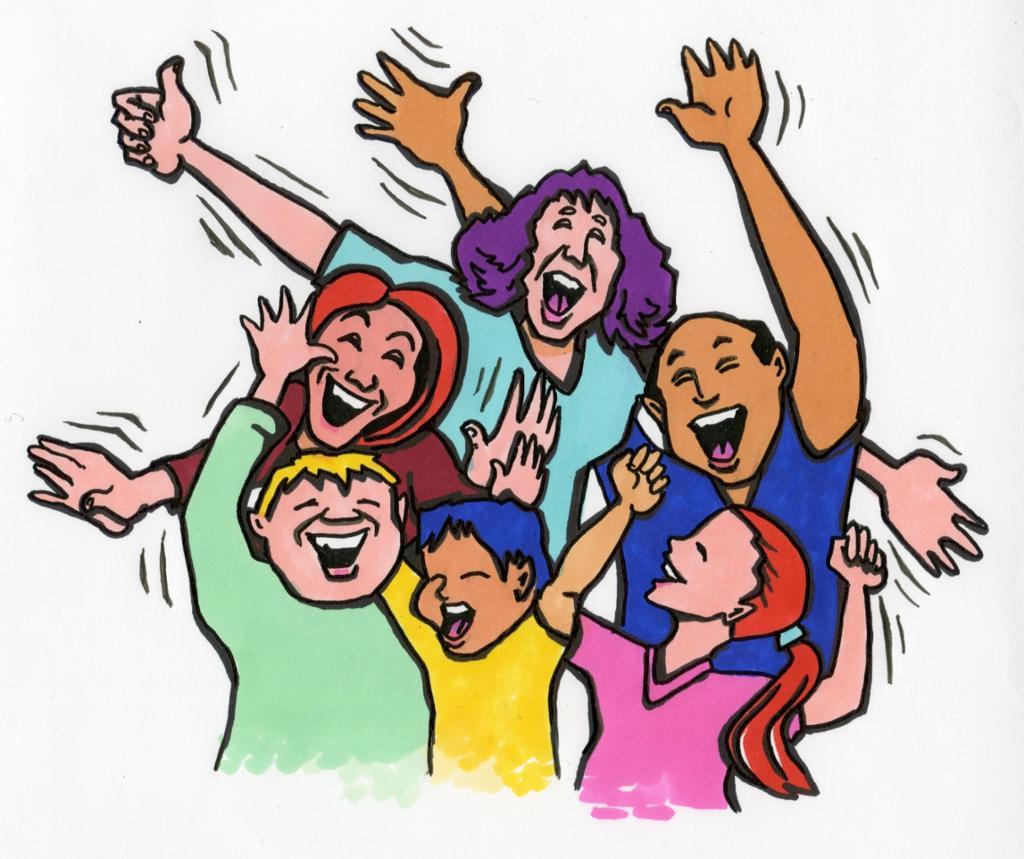 Mennesker som viser glede ved å smile og strekke hender i været. Illustrasjon.