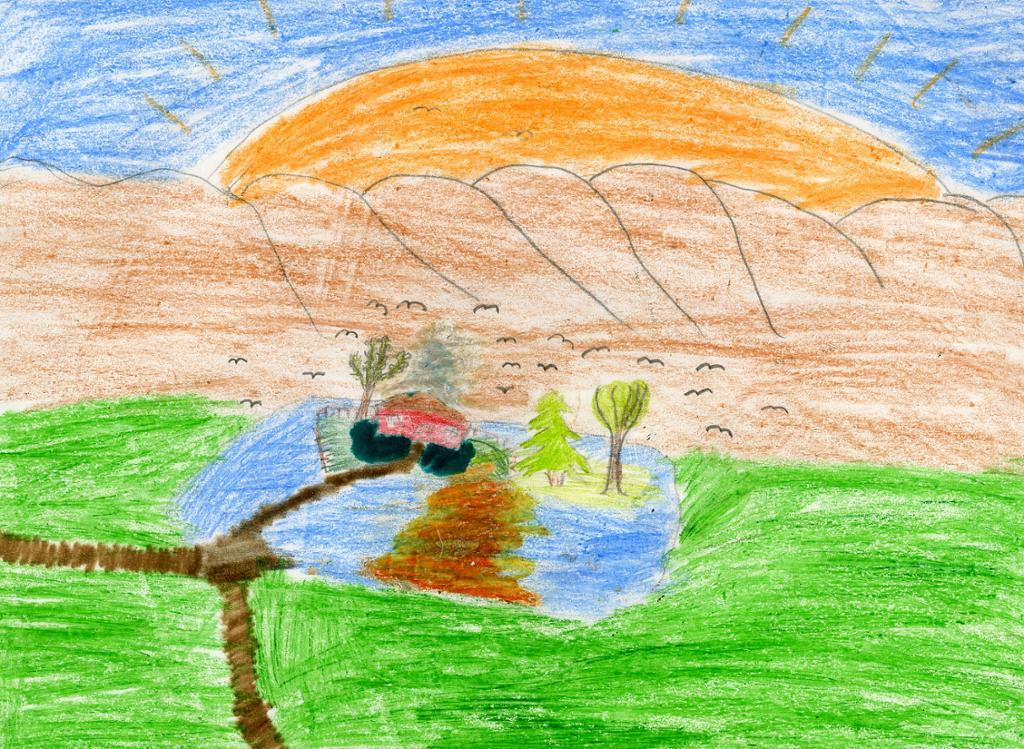Tegnet landskap.illustrasjon.