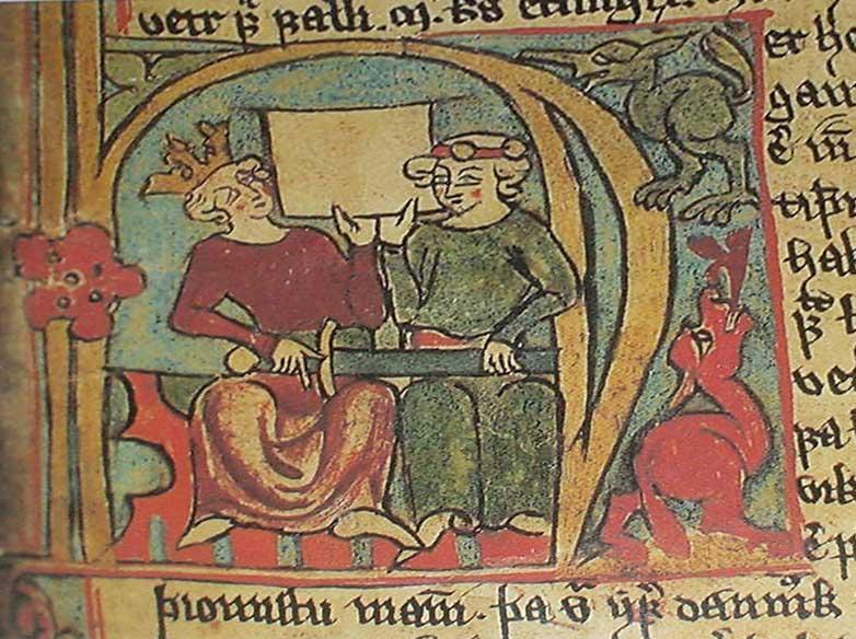 Bokillustrasjon fra middelalderen som viser Kong Håkon Håkonsson og sønnen Magnus. Illustrasjon.