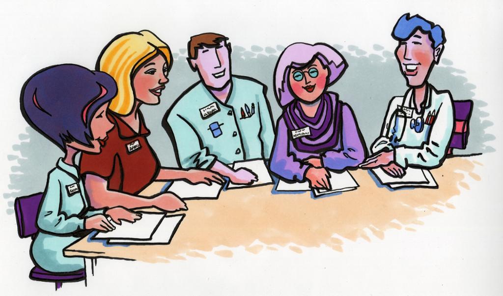 Bildet viser ulike fagpersoner på et møte