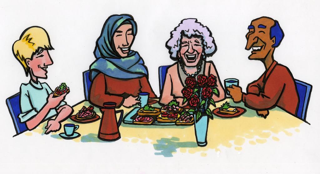 Bildet viser flere mennesker sammen rundt et bord