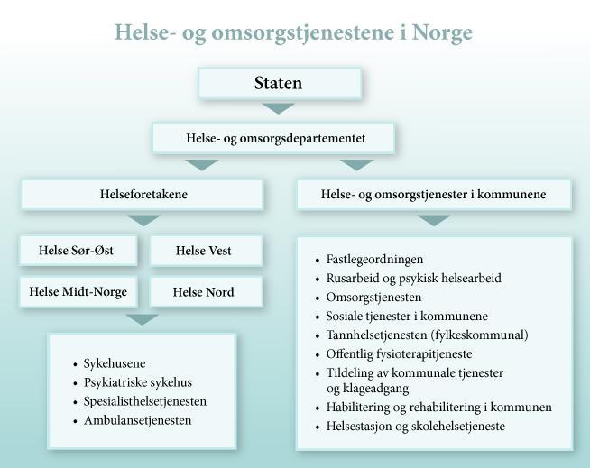 Bilde av en modell som viser hvordan helse- og omsorgstjenester er organisert i norge