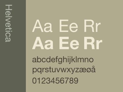 Skrifttypen Helvetica. Illustrasjon.