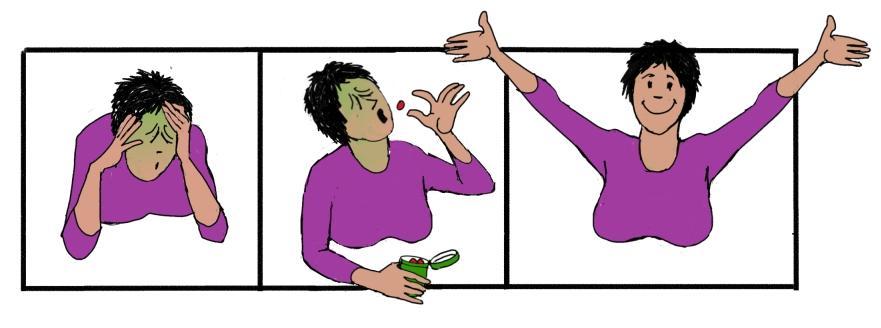 Jente har vondt i hodet, får tablett, blir bra. Tegneserie.