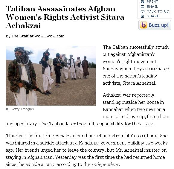 Article about Taliban Assassinating Afghan Womens Rights Activist. Faksimile.
